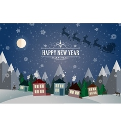 New year winter holidays landscape- night street vector