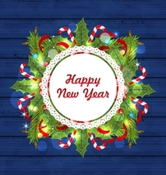 Greeting card with decoration for happy new year vector