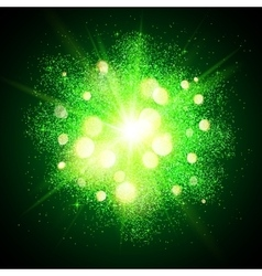 Green shining fireworks explosion at black vector