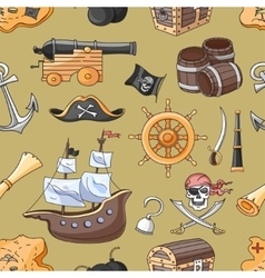 Doodle pattern set of pirates vector