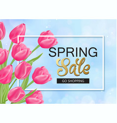8 march spring banner with pink tulips vector