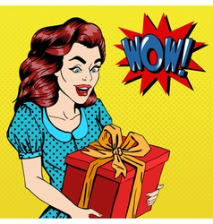 Woman with gift excited woman with present pop art vector