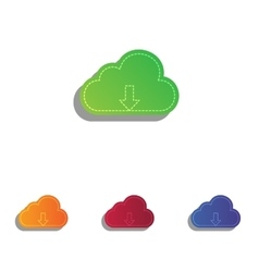Cloud technology sign colorfull applique icons vector