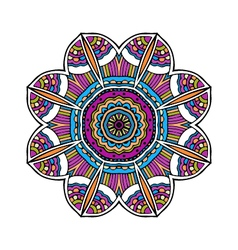 Acid color ethnic aztec tribal mandala pr vector image