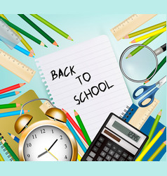 back to school background with supplies tool vector image vector image