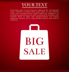 big sale bag icon isolated on red background vector image