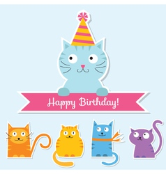 Birthday cat card vector image vector image