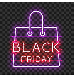 black friday neon text in frame in form of bag vector image