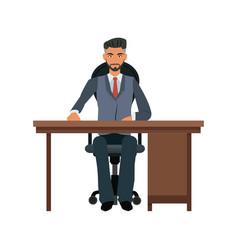 Business man desk workspace sitting image vector