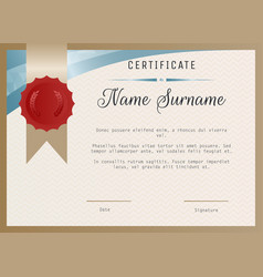 Certificate blank template with wax seal vector