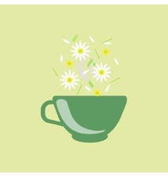 Chamomile Tea In Green Cup vector image