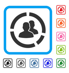 Demography diagram framed icon vector