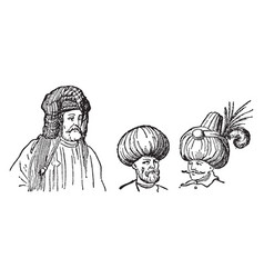Different kinds of turbans vintage engraving vector