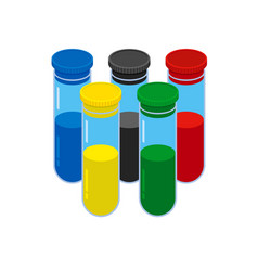 Doping test concept five colored glass flask vector