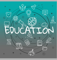 education concept different thin line icons vector image