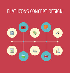 flat icons carpet vacuuming towel laundry and vector image vector image