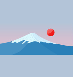 Fuji mountain with snow on the top and red sun vector