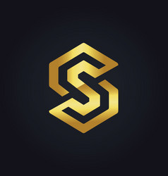 gold circle letter s logo vector image vector image