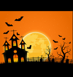 halloween spooky night background with castle and vector image