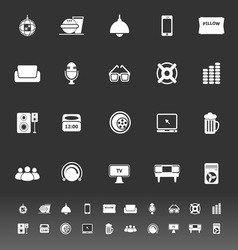 Home theater icons on gray background vector