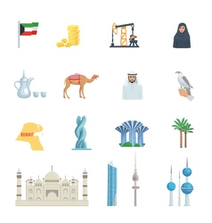 Kuwait Culture Flat Icon Set vector image