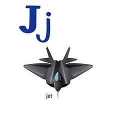Letter J for jet vector image vector image