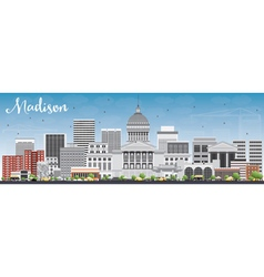Madison skyline with gray buildings vector