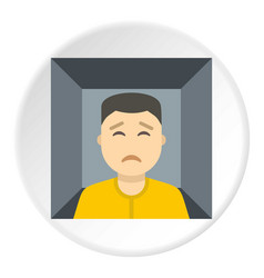 Man trapped in a box icon circle vector