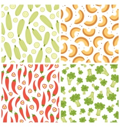 Mixed vegetables seamless patterns set 3 vector