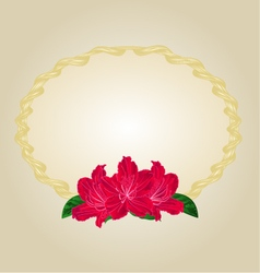 Oval gold frame with red rhododendrons vector