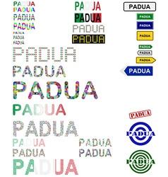 Padua text design set vector