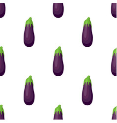 Purple eggplant seamless pattern cartoon style vector