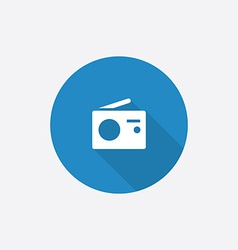 radio Flat Blue Simple Icon with long shadow vector image vector image