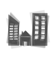 Real estate sign gray icon shaked at vector