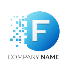 realistic letter f logo in colorful circle vector image
