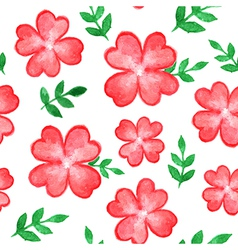 seamless pattern with red watercolor flowers vector image vector image