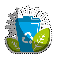 Sticker can of recycling with leaves icon vector