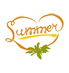 Summer heart logo vector image
