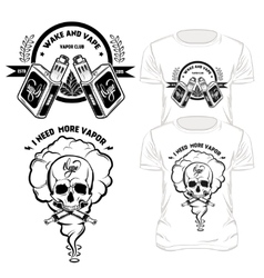 Vape t-shirt designs set vector