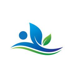 wave leaf eco sign logo vector image vector image