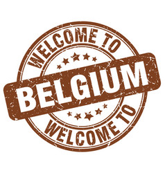 Welcome to belgium brown round vintage stamp vector