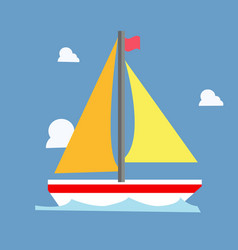 yellow sailboat with blue wave and clouds vector image