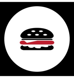 Black and red simple hamburger isolated icon eps10 vector