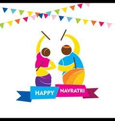 Happy navratri festival garba dance poster design vector