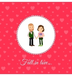 Fall in love couple card template vector image
