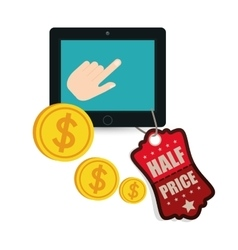Big sale online technology half price coins vector