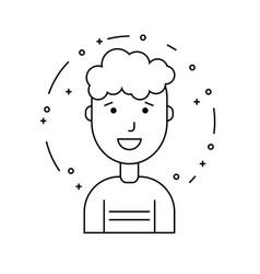 smiling guy character minimalism cartoon flat vector image