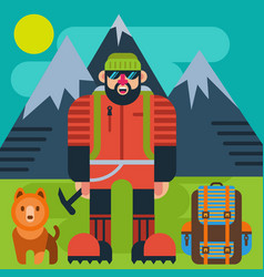 Climber with dog vector