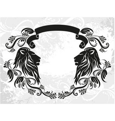 decorative frame with lions vector image
