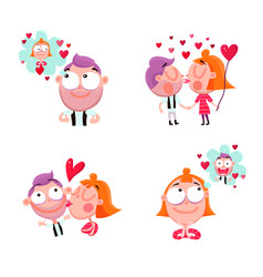 Love people stickers set vector